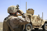 U.S. Marine Uses a Range Finder During a Patrol in Afghanistan Photographic Print