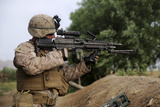 U.S. Marine Provides Security with an M249 Squad Automatic Weapon Photographic Print