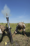 U.S. Marines Fire an M252 81Mm Mortar System Photographic Print