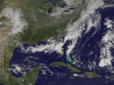 Satellite View of a Cold Front That Brought Clouds and Thunderstorms to the Coast Photographic Print