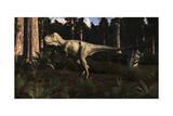 Albertosaurus Sarcophagus Wanders a Prehistoric Forest Art
