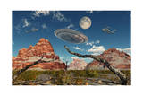 A Pair of Ah-64 Apache Black Ops Helicopters Chasing a Flying Saucer Prints