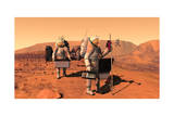 Artist's Concept of Astronauts Setting Up Weather Monitoring Equipment on Mars Posters