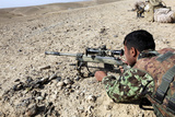 An Afghan National Army Soldier Fires an M40A5 Rifle Photographic Print