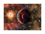 An Alien Planet and its Moon in Orbit around a Red Giant Star Prints