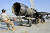 Airmen Work to Remove the Engine from an F-16 Fighting Falcon Photographic Print
