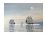 Three Old Ships Sailing in the Ocean under a Full Moon Print