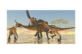 A Pack of Deinonychus Dinosaurs Attack a Tenontosaurus Prints