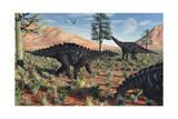 A Small Group of Stegosaurid Miragaia Dinosaurs Print