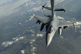 A U.S. Air Force F-16C Fighting Falcon Conducts Aerial Refueling Photographic Print