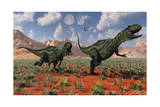 A Pair of Yangchuanosaurus Dinosaurs Hunting Posters