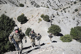 Infantrymen Walk Up a Mountain Trail in Afghanistan Photographic Print