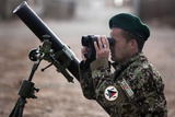 An Afghan National Army Soldier Trains to Employ a Mortar Tube Photographic Print