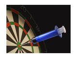 Dartboard with a Medical Syringe in Center Target Poster
