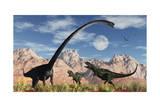 A Pair of Yangchuanosaurus Dinosaurs Confront an Omeisaurus Print