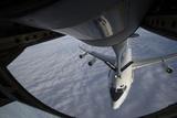 A Kc-135 Stratotanker Refuels a Nato E-3 Sentry Aircraft Photographic Print