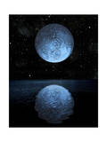 A Blue Moon Rising over a Calm Alien Ocean with a Starry Sky as a Backdrop Print
