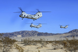 Ch-46E Sea Knight Transport Helicopters Fly over Camp Wilson Photographic Print