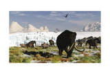 Woolly Mammoths and Woolly Rhinos in a Prehistoric Landscape Posters