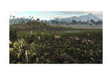 Dinosaurs Graze the Lush Delta Lands of North America 76-74 Million Years Ago Poster
