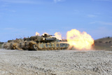 M1A1 Abrams Fire their 120Mm Smoothbore Cannon Photographic Print