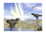 Tyrannosaurus Rex and Pteranodons Watch a Meteorite Impact Prints