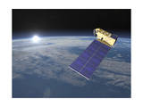 Aura Satellite Orbiting Earth and Rising Sun Prints