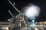 Fireworks Light Up the Sky Behind the Guided Missile Destroyer Js Kirishima Photographic Print