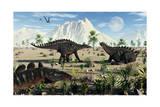 A Small Group of Stegosaurid Miragaia Dinosaurs Prints