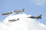 Military Planes Fly in Formation During a Heritage Flight Photographic Print