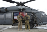 .S. Air Force Flight Engineer and His Father Pose in Front of an Hh-60 Pave Hawk Photographic Print