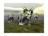 Three Styracosaurus Dinosaurs Posters