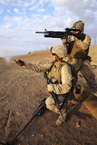 A Marine Fires a M203 Grenade Launcher While Fellow Marine Fires a Pin Flare Photographic Print