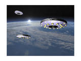 Three Ufo's Flying Above Planet Earth Prints