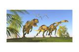 A Yangchuanosaurus Chasing Two Massospondylus Dinosaurs Prints