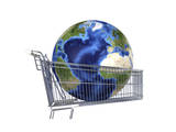 Planet Earth Inside Supermarket Trolley Prints