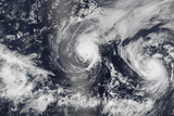 Hurricane Iselle and Hurricane Julio over the Pacific Ocean Photographic Print