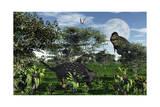 A Tyrannosaurus Rex Stalking a Herbivorous Ankylosaurus Print