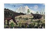 A Pair of Stegosaurid Miragaia Dinosaurs Poster