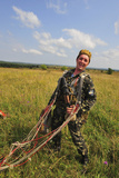 An Armed Forces of Ukraine Paratrooper Poses for a Photo after Landing Photographic Print