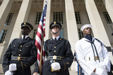 Members of the Honor Guard Stand at Attention in Front of the Pentagon Photographic Print