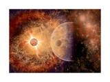 A Supernova Destroying Itself and its Planets Posters