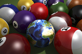 Pool Table with Balls and One of Them as Planet Earth Poster