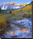 Maroon Bells and Maroon Creek, Colorado Stretched Canvas Print by Tim Fitzharris