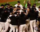 The San Francisco Giants celebrate winning Game 5 of the 2014 National League Championship Series Photo