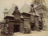 Pavilion of Nicaragua and Base of the Eiffel Tower, Paris Exposition, 1889 Photographic Print