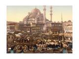 Yeni Cami Mosque and Eminonu Bazaar, Constantinople, Turkey Giclee Print