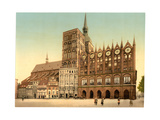 Town Hall and St. Nicholas Church, Stralsund, Pommeraina Sic, Germany Giclee Print