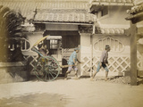 Two Women Riding in a Rickshaw Photographic Print