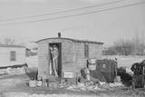 Mrs. Charles Benning Sweeping Steps of Shack in Shantytown Photographic Print